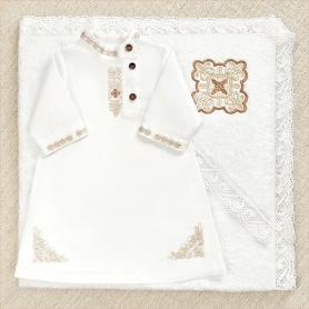 комплект для крещения мальчика с льняной косовороткой и махровым кружевным полотенцем