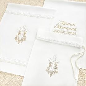 льняной мешочек для крестильного с крестиком, обвитым лозой