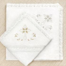 полотенца для крещения кружевные с вышитыми уголками