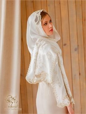 молочный шарф с золотисто-бежевой вышивкой