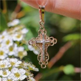 ажурный золотой крестик Аквамарин для девочки