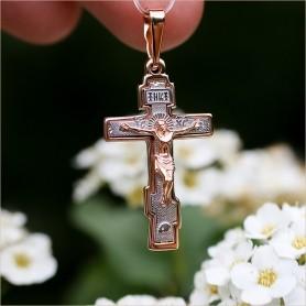 мужской крест из комбинированного золота завод Аквамарин