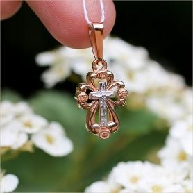 объемный золотой крестик православный для ребенка