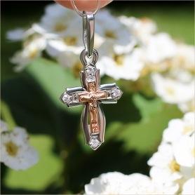 крестик из красного и белого золота с 4-мя бриллиантами для ребенка
