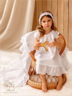 пеленка с вышитым капюшоном и оборкой из кружева-шитья - для крещения девочки