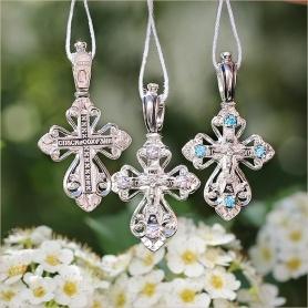 варианты серебряных крестов с фианитами