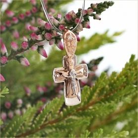 детский золотой крестик с бриллиантом для крещения Аквамарин