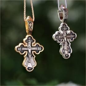 серебряный и позолоченный варианты крестика 8210 Елизавета