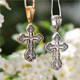 серебряный и позолоченный варианты крестика 8078 Елизавета