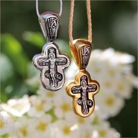 серебряный и позолоченный варианты крестика 8153 для крещения ребенка