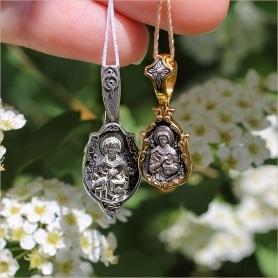 Серебряный и позолоченный образа Святого Пантелеймона Целителя