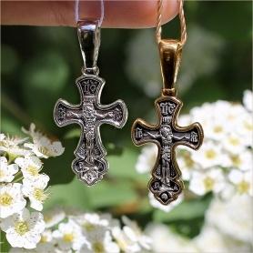 крест арт.8198 в серебре с чернением и позолотой
