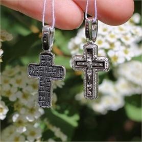 крестик из серебра с чернением 08378 Елизавета
