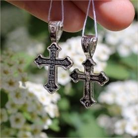 крест из серебра с чернением 08059 Елизавета