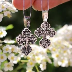 округлый нательный серебряный крестик для ребенка арт.03078