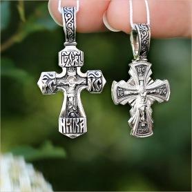 похожие серебряные кресты 03502 и 03376 для крещения детей