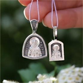 маленький серебряный образок Николай Чудотворец