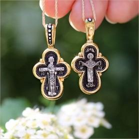 серебряный крестик с позолотой арт.08011 - нательный православный, подходит ребенку