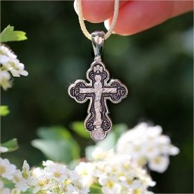 большой серебряный мужской крест - нательный, православный, арт.08076