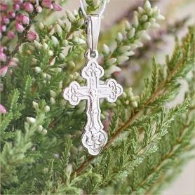 крестик арт.10337 из серебра для крещения ребенка