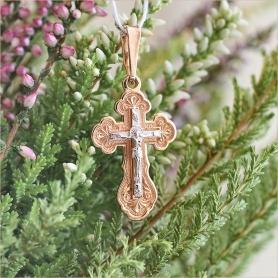 православный серебряный крестик с позолотой под золото арт.11003