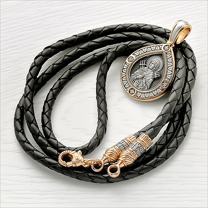 Гайтан кожаный ЕЛ 001, серебро с позолотой - фото товара