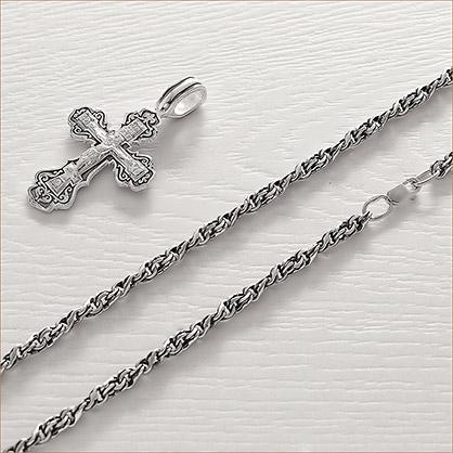 Мужская серебряная цепь Аврора 0,6 с чернением - фото товара
