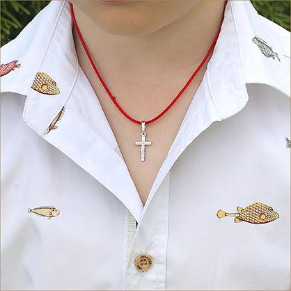 серебряный крестик классической строгой формы 11987 для крещения ребенка - маленький размер
