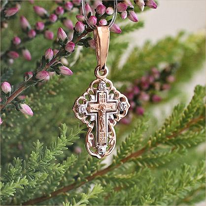 трехмерный золотой крестик для крещения ребенка арт.12153