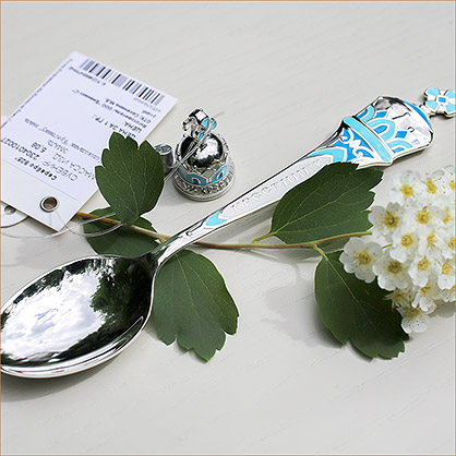 серебряная ложечка с эмалью для крестника