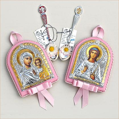 серебряный набор с ложкой и иконой в розовом окладе для крестницы