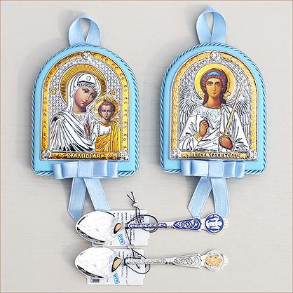 серебряная ложечка Ангела за трапезой и икона для мальчика в голубом окладе