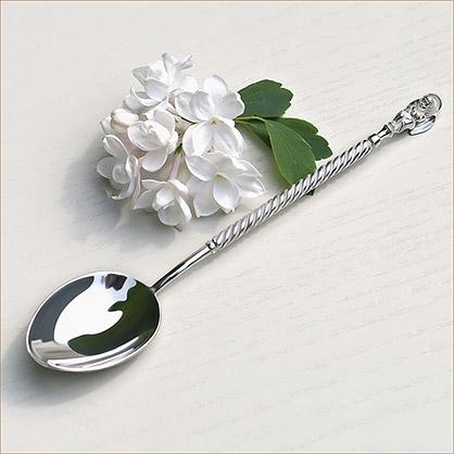 Серебряная ложечка с ангелочком на крещение в подарок