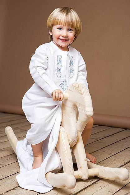 длинная крестильная рубашка для мальчика