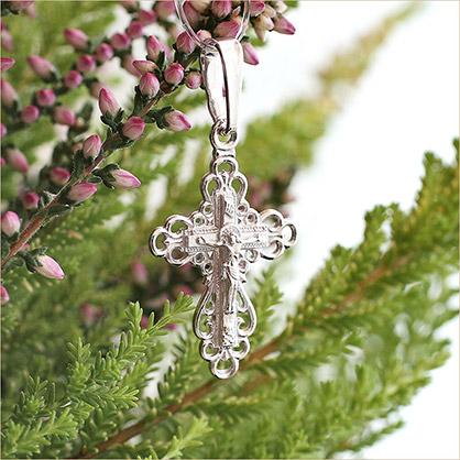 ажурный серебряный крестик арт.10278 подходит для крещения ребенка