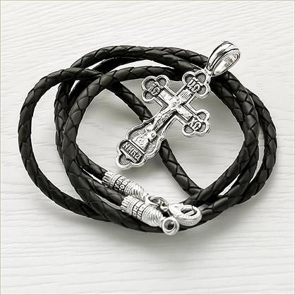 Гайтан кожаный ЕЛ 012, серебро с чернением - фото товара