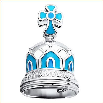 серебряный колокольчик с эмалью в подарок крестнику