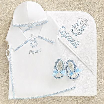 """Набор """"Голубой Лучик"""" с полотенцем для крещения мальчика - фото товара"""