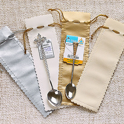 Кожаный мешочек для серебряной ложечки