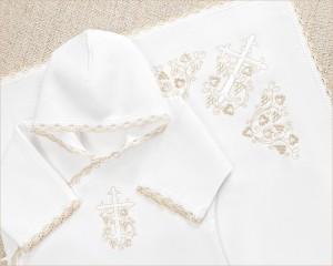 Крестильный набор с фланелевой рубашкой и пеленкой