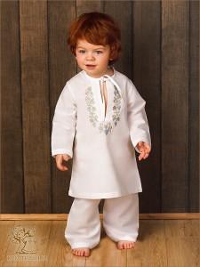 льняной костюм для крещения с короткой крестильной рубашкой и штанишками