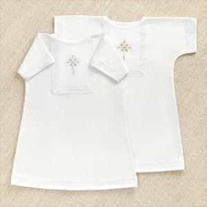 фланелевая крестильная рубашка унисекс на кнопках