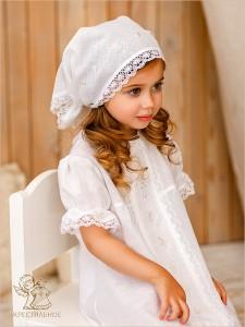 крестильная рубашка для девочки с бутонами роз