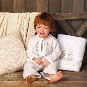 льняная крестильная рубашка и костюмчик для крещения с православной вышивкой для мальчика