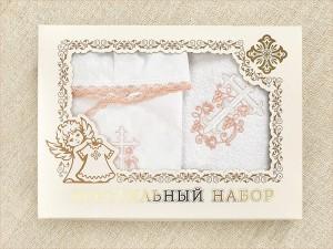 крестильный набор для девочки с именем в подарочной коробке