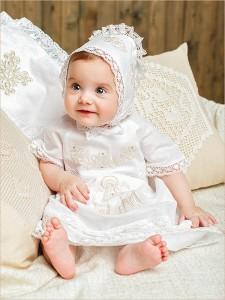 крестильное платье София с золотой вышивкой и кружевом