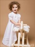 Крестильное платье Ксения с розовой вышивкой