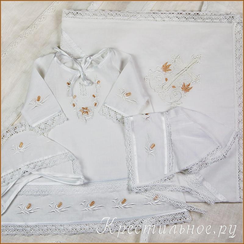 крестильный набор для девочки с вышитыми лилиями