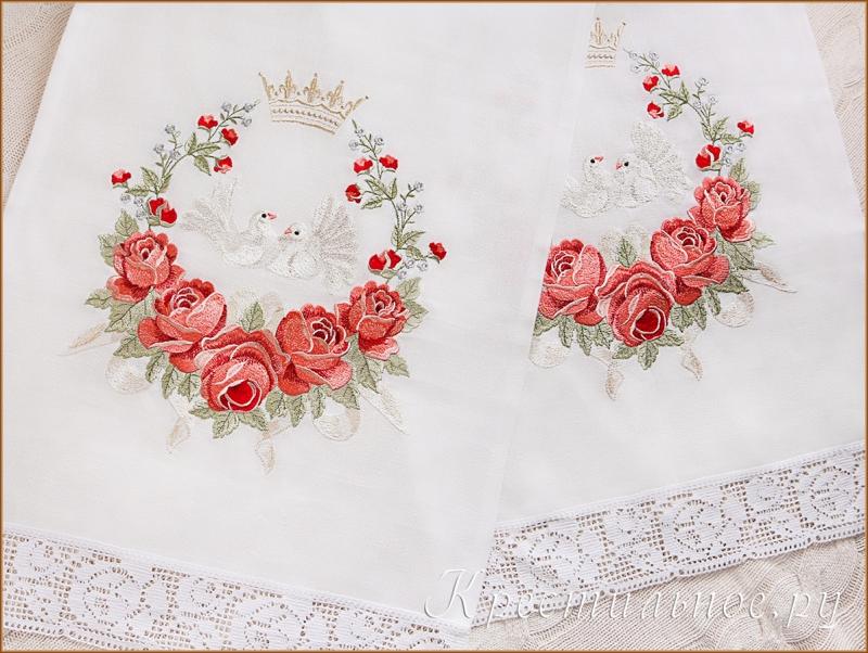 рушник на венчание с вышитыми розами