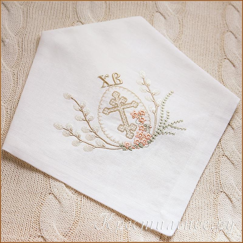льняная салфетка на пасху с вышивкой